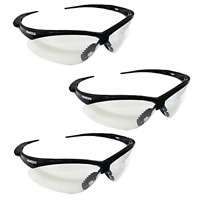 3 Pair Safety Glasses Black Frame Clear Lens Kimberly Clark Soft Touch Temples