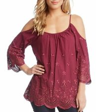 Karen Kane Berry Wine Country Large Cold Shoulder Eyelet Embroidered Top NWT L