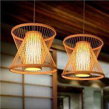 Bamboo Wicker Rattan Shade Pendant Light Fixtures Hanging Ceiling Lamp Room