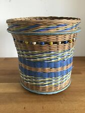 Vintage Retro Wicker Basket Planter Blue Green Brown 1950s Mid Dentury