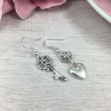 MISMATCHED Silver KEY and HEART Charm EARRINGS Drop, Dangle, Hook LOVE Odd Sweet