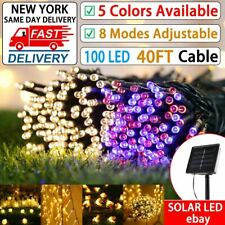Solar 12M 100LED Battery Micro Rice Wire Copper Fairy String Lights Party white/