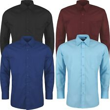 Mens Formal Shirts Long Sleeve Button Up Smart Plain Business Collared Dress Top
