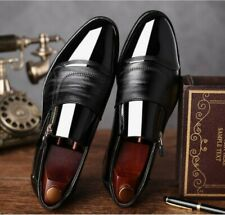Para Hombre Británico novio vestido para boda Puntera Puntiaguda Bombas Charol Zapatos Formal Talla