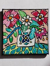 Folk Art Mini ORIGINAL Flower Vase Pot MAGNET Still Life Leaf Floral Whimsical