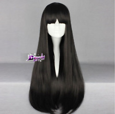 70CM Black Long Straight Hair for Sailor Moon Sailor Mars Cosplay Wig with Bangs