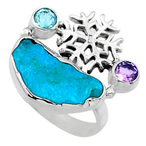 7.33cts Natural Sleeping Beauty Turquoise Rough 925 Silver Ring Size 6.5 R66682