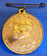 1939 GEORGE VI & ELIZABETH ROYAL VISIT CANADA MEDAL LOOPED WITH ORIG PIN