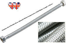 Stainless,Steel Flexible Hose,Compression,2 Heads,15mm(Female)Length:1Meter