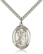 """Saint Roch Medal For Men - .925 Sterling Silver Necklace On 24"""" Chain - 30 Da..."""