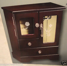 ESPRESSO WOODEN JEWELRY BOX, 2 DRAWER, ETCHED GLASS, NECKLACE HANGER, MIRROR,NEW