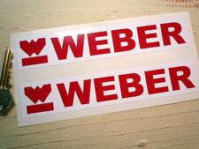 Weber Rojo & Blanco con logotipo y texto Par De Pegatinas De 7 Pulgadas 175 mm