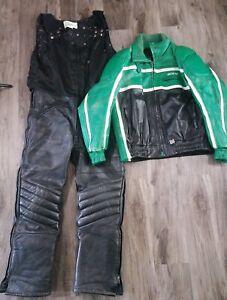 Vintage Arcticwear Arctic Cat Green Leather Snow Suit Pants Bibs Large Jacket XL
