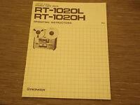 Pioneer Original RT-1020L Tape Deck Owners Operating Manual