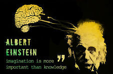 Framed Print - Albert Einstein Imagination is More Important Than Knowledge ART