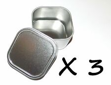 3 x 4-oz Square Slip On Lid Survival Metal Tin Can Container Box Kit Crafts Use