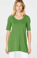 NEW J JILL S M L Pima Slub-knit S/S Dipped hem Tunic Knit Angled Apple Green