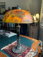 Antique Reverse Painted Lamp Shade and Lamp- Pairpoint???