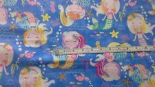 Mermaid Wishes Glittery Fabric,100% cotton, mermaids,star fish, GL21960-blue