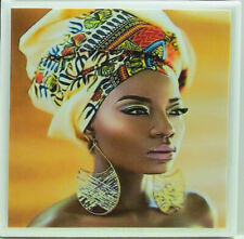 New listing Handmade Stone Ceramic Tile Marble Drink Coasters - Set of 4 - African Women 9E