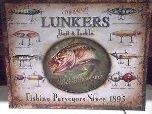 Lunkers Señuelos, Cebo Y Abordar, Estilo Vintage Metal Pared Placa, 41x31cm,