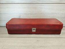 More details for vintage '1980's red vinyl'' cassette tape storage case (holds 20)