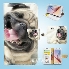 Samsung Galaxy S3 4 5 6 7 8 Edge Plus Note Flip Wallet Case Cover Cute Dog S123