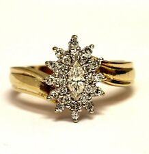 14k yellow gold .43ct marquise diamond cluster ring 4.8g ladies estate antique