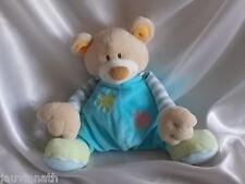 Doudou ours corps bleu, fleurs, Nattou