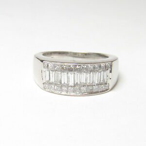 Estate 14K White Gold Baguette And Princess Cut Diamond Cluster Ring 1.00 Ct