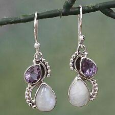 Women's  925 Silver Jewelry Amethyst Earrings Handmade Moonstone Eardrop Gifts