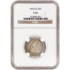 1875 CC US Seated Liberty Silver Twenty-Cent Piece 20C - NGC F15
