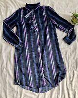 BANANA REPUBLIC sz Med Plaid Ruffle Neck Shirt Dress Blue Purple Long Sleeve