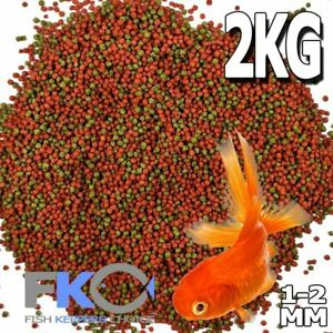 FKC Premium Bulk Goldfish Koi Tropical Floating Pond Fish Food Pellet 1-2mm 2Kg