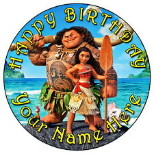"""MOANA & MAUI PARTY - 7.5"""" PERSONALISED ROUND EDIBLE ICING CAKE TOPPER"""
