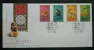 Hong Kong Year Of The Monkey 2004 Chinese Lunar Zodiac (stamp FDC)