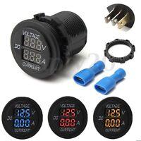 Motorcycle Car DC 12-24V Dual LED Digital Voltmeter Ammeter Amp Volt Meter