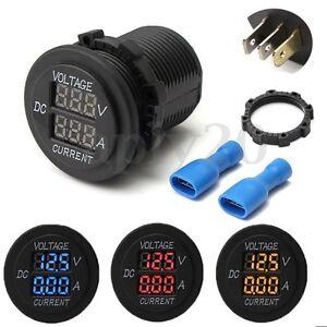 Motorcycle Car DC 12-24V Dual LED Digital Voltmeter Ammeter Amp Volt Met