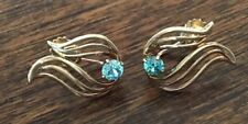 BEAUTIFUL VINTAGE 10K YELLOW GOLD EARRINGS AQUAMARINE STONE ESEMCO SCREW BACK