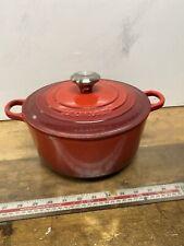 Cousances  Le Creuset Round Casserole Dish - Cerise Red - Size 25cm Size 24 GC
