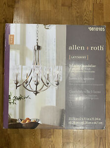 Allen + roth Latchbury 5-Light Brushed Nickel Traditional Chandelier