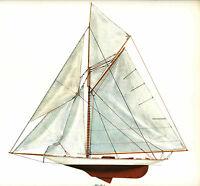 "1893 Vigilant Americas Cup Sloop Melbourne Smith Lithograph Nautical 13"" x 14"""
