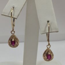 Natural Ruby with Natural Diamond Dangle Earrings Solid 14kt Yellow Gold