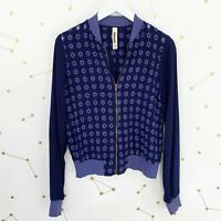Anthropologie Jacket Size Small Blue Eyelet Embroidered Bomber Full Zip Light