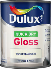 Dulux Quick Dry Gloss Pure Brilliant White Paint 750ml Wood & Metal Low Odour