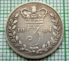GREAT BRITAIN QUEEN VICTORIA 1884 3 PENCE THREEPENCE, SILVER