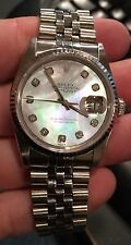 ROLEX DATEJUST 16234 Jubilee BAND 36MM 18K WHITE Gold BEZEL 3135 White M-O-Pearl