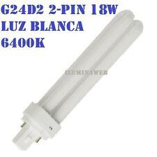 Bombilla Eco G24d2 - PL C 2 pin, 18w, Luz Blanca 6400K, bajo consumo downlight