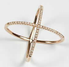 """14k Rose Gold """"X"""" Ring with 0.21cts Diamond"""