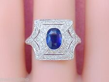 ANTIQUE STYLE ART DECO .55ctw DIAMOND 1.13ct OVAL BLUE SAPPHIRE COCKTAIL RING